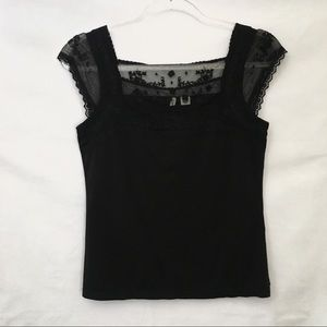 Moth Lace Embroidered Sleeveless Black Boho Top